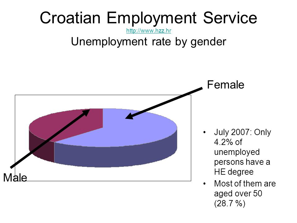 Croatian Employment Service http://www.hzz.hr Unemployment rate by gender http://www.hzz.hr July 2007: Only 4.2% of unemployed persons have a HE degree Most of them are aged over 50 (28.7 %) Male Female