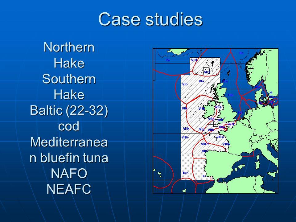 Northern Hake Southern Hake Baltic (22-32) cod Mediterranea n bluefin tuna NAFO NEAFC Case studies