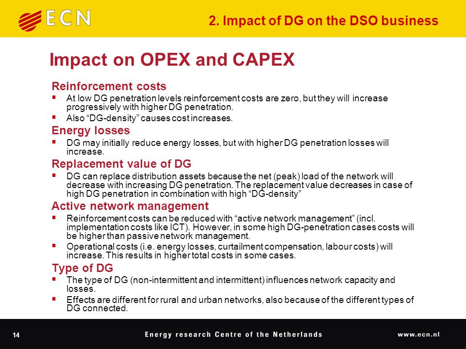 14 Impact on OPEX and CAPEX Reinforcement costs  At low DG penetration levels reinforcement costs are zero, but they will increase progressively with higher DG penetration.