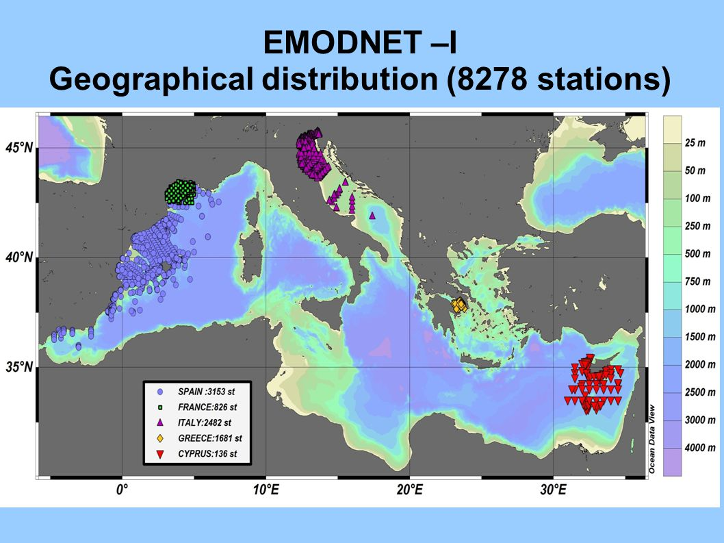 EMODNET –I Geographical distribution (8278 stations)