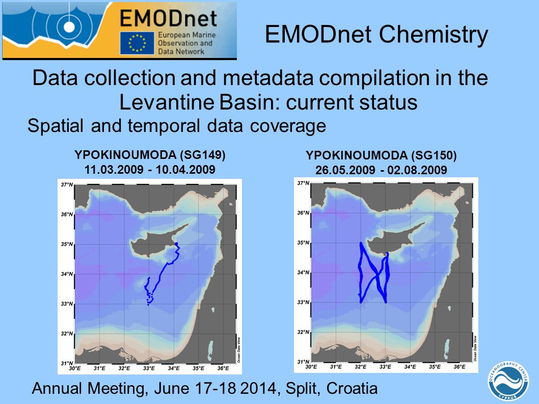 Annual Meeting, June 17-18 2014, Split, Croatia Data collection and metadata compilation in the Levantine Basin: current status Spatial and temporal d