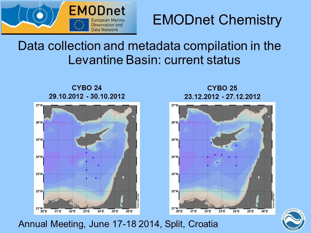 Annual Meeting, June 17-18 2014, Split, Croatia Data collection and metadata compilation in the Levantine Basin: current status EMODnet Chemistry CYBO