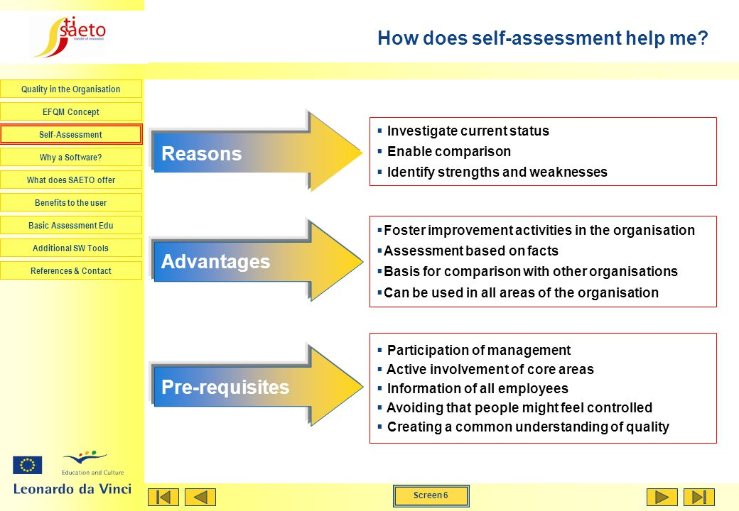 Screen 6 Quality in the Organisation EFQM Concept Self-Assessment Why a Software.