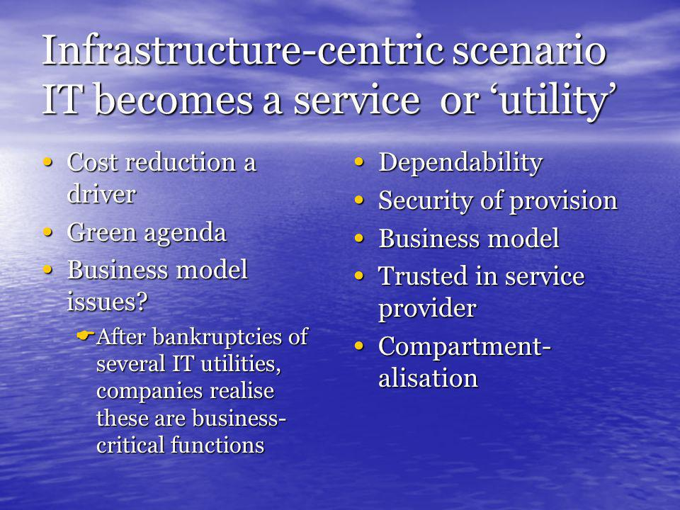 Infrastructure-centric scenario IT becomes a service or 'utility' Cost reduction a driver Cost reduction a driver Green agenda Green agenda Business model issues.