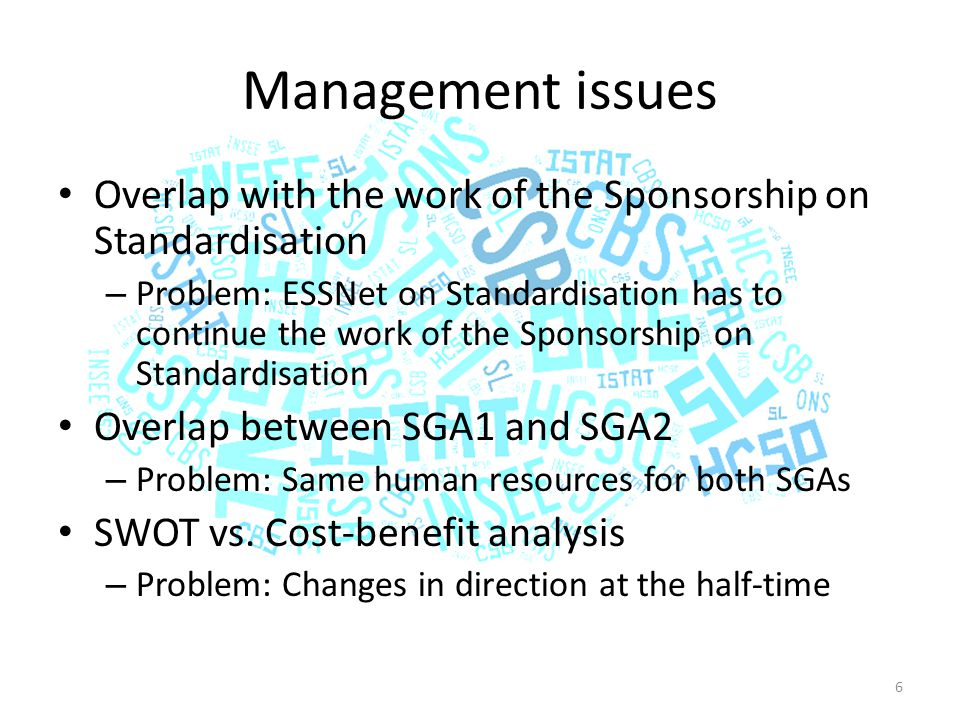 Management issues Overlap with the work of the Sponsorship on Standardisation – Problem: ESSNet on Standardisation has to continue the work of the Sponsorship on Standardisation Overlap between SGA1 and SGA2 – Problem: Same human resources for both SGAs SWOT vs.