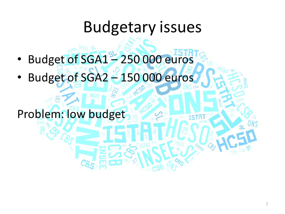 Budgetary issues Budget of SGA1 – 250 000 euros Budget of SGA2 – 150 000 euros Problem: low budget 7