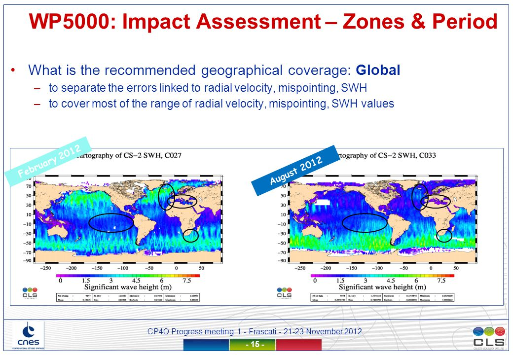 CP4O Progress meeting 1 - Frascati - 21-23 November 2012 - 15 - August 2012 February 2012 WP5000: Impact Assessment – Zones & Period What is the recommended geographical coverage: Global –to separate the errors linked to radial velocity, mispointing, SWH –to cover most of the range of radial velocity, mispointing, SWH values
