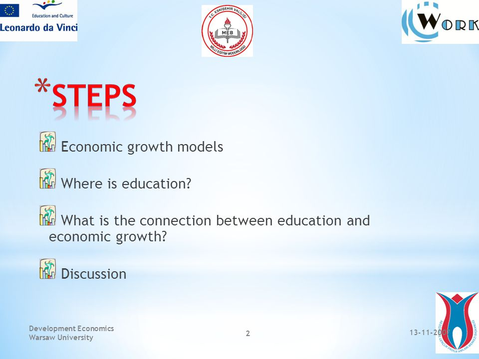 13-11-2007 Development Economics Warsaw University 2 Economic growth models Where is education.