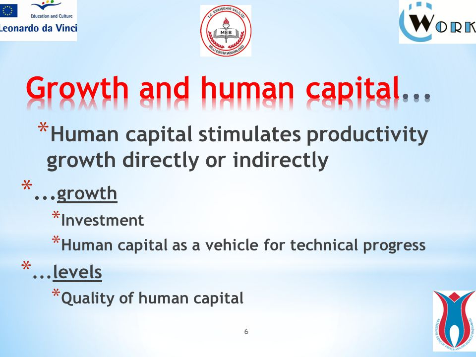 6 * Human capital stimulates productivity growth directly or indirectly *...