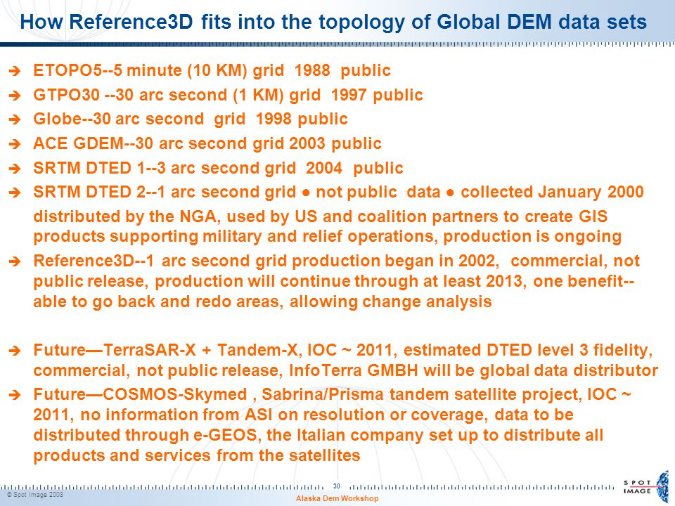 How Reference3D fits into the topology of Global DEM data sets  ETOPO5--5 minute (10 KM) grid 1988 public  GTPO30 --30 arc second (1 KM) grid 1997 p