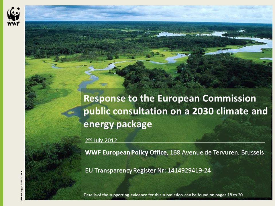 © Michel Roggo / WWF-Canon Response to the European Commission public consultation on a 2030 climate and energy package 2 nd July 2012 WWF European Po