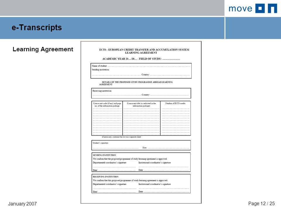 Page 12 / 25 January 2007 e-Transcripts Learning Agreement