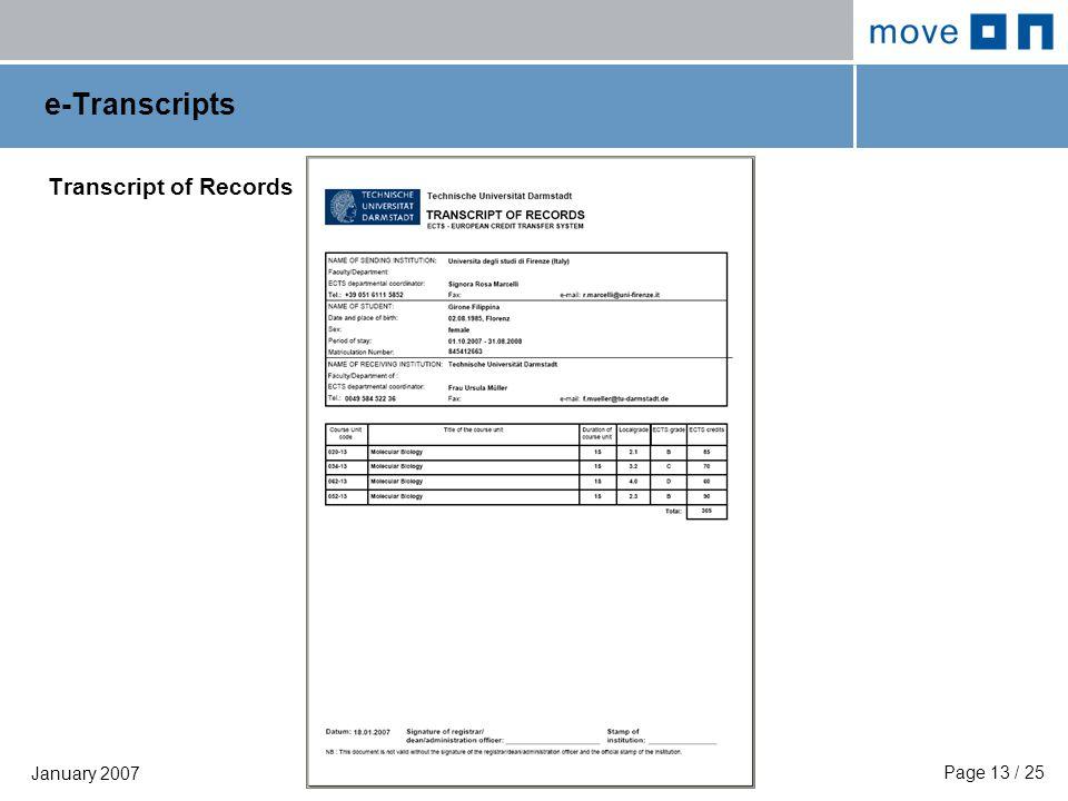 Page 13 / 25 January 2007 e-Transcripts Transcript of Records