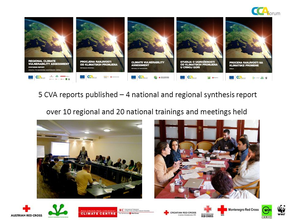 5 CVA reports published – 4 national and regional synthesis report over 10 regional and 20 national trainings and meetings held