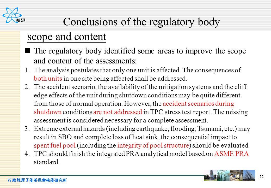 行政院原子能委員會核能研究所 22 scope and content The regulatory body identified some areas to improve the scope and content of the assessments: 1.The analysis post