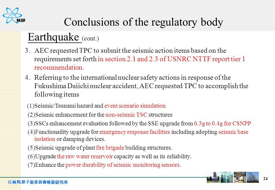 行政院原子能委員會核能研究所 24 Earthquake (cont.) 3.AEC requested TPC to submit the seismic action items based on the requirements set forth in section 2.1 and 2.3