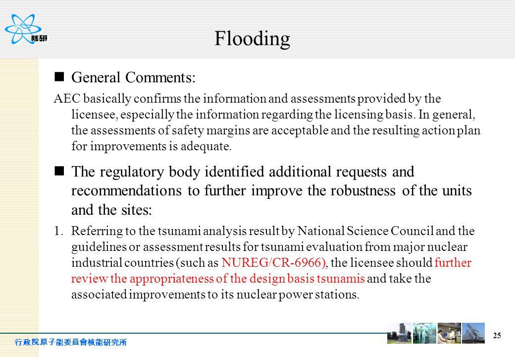 行政院原子能委員會核能研究所 25 Flooding General Comments: AEC basically confirms the information and assessments provided by the licensee, especially the informati