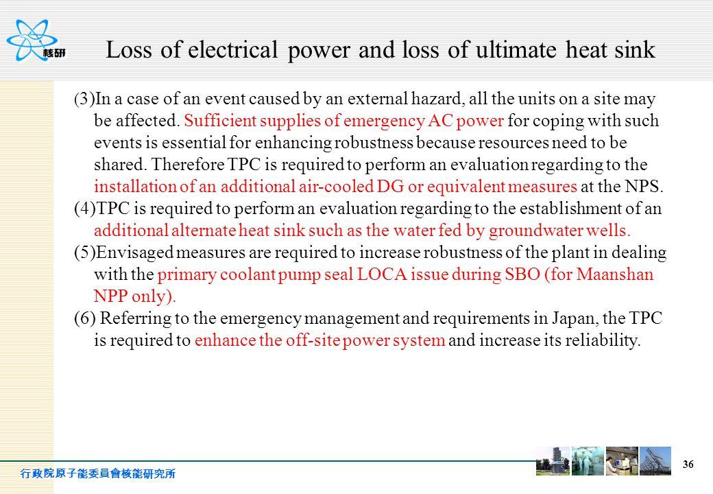 行政院原子能委員會核能研究所 36 ( 3)In a case of an event caused by an external hazard, all the units on a site may be affected. Sufficient supplies of emergency AC