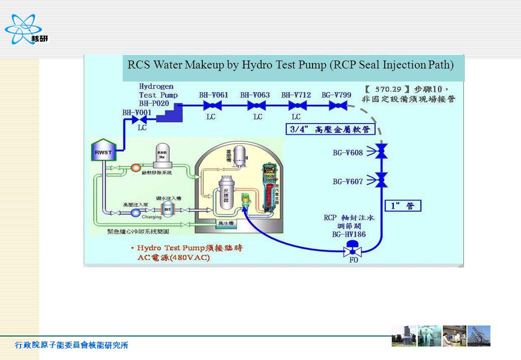行政院原子能委員會核能研究所 RCS Water Makeup by Hydro Test Pump (RCP Seal Injection Path)