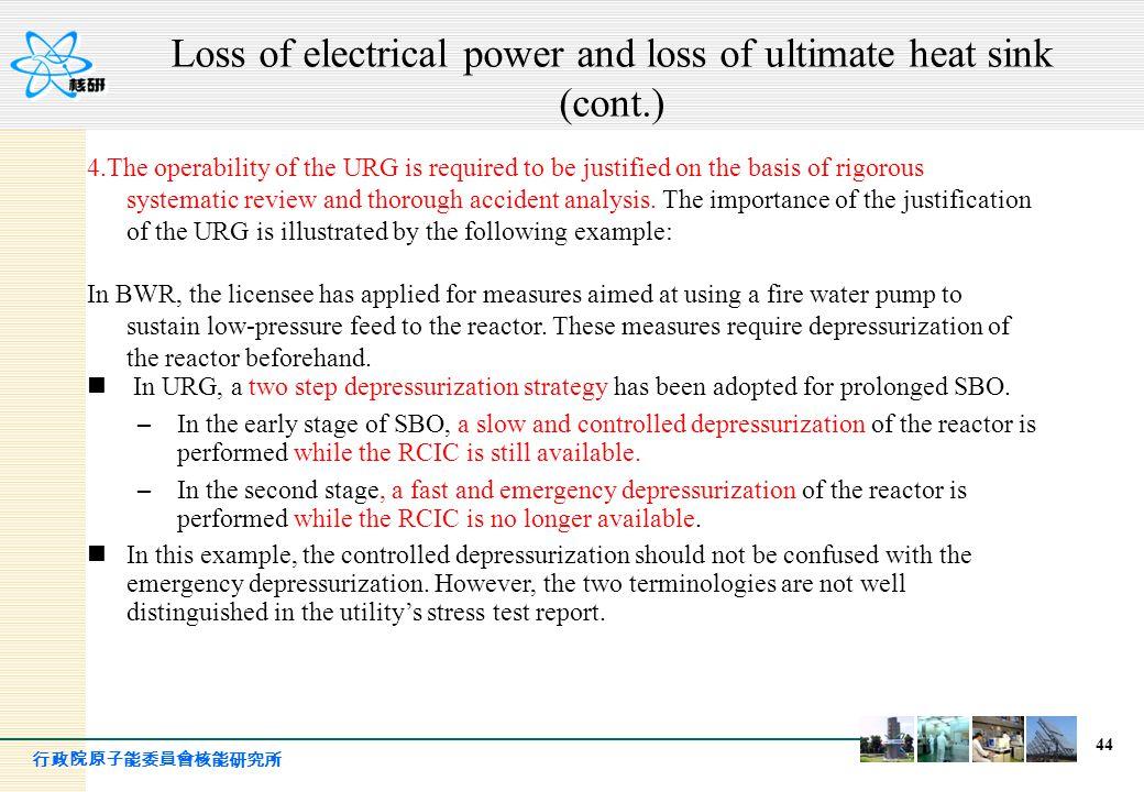行政院原子能委員會核能研究所 44 4.The operability of the URG is required to be justified on the basis of rigorous systematic review and thorough accident analysis.
