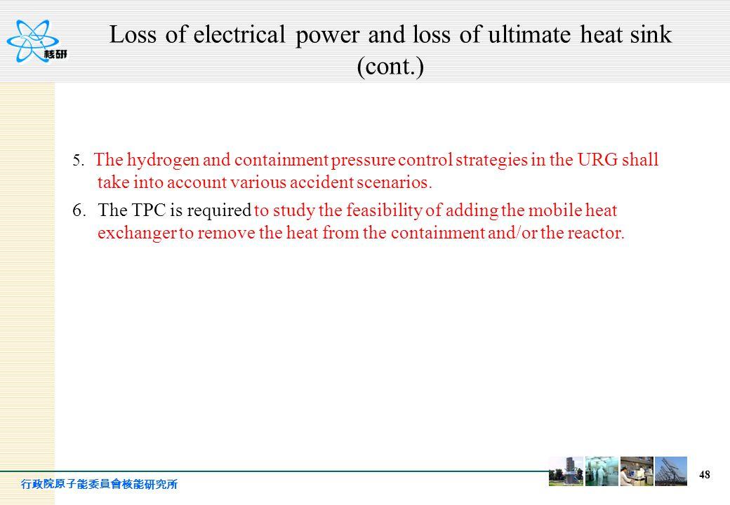 行政院原子能委員會核能研究所 48 5. The hydrogen and containment pressure control strategies in the URG shall take into account various accident scenarios. 6.The TPC