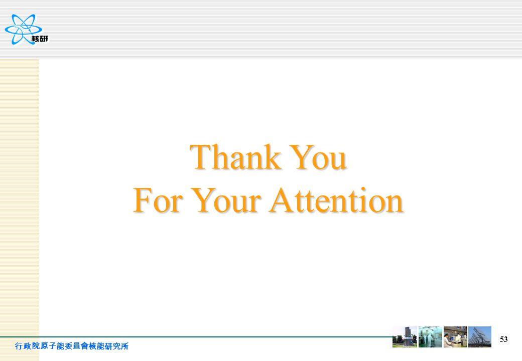 行政院原子能委員會核能研究所 53 Thank You For Your Attention