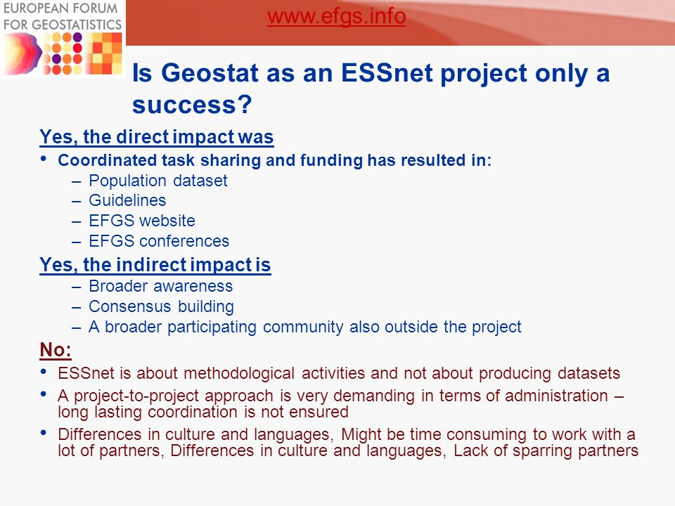 6 Is Geostat as an ESSnet project only a success.