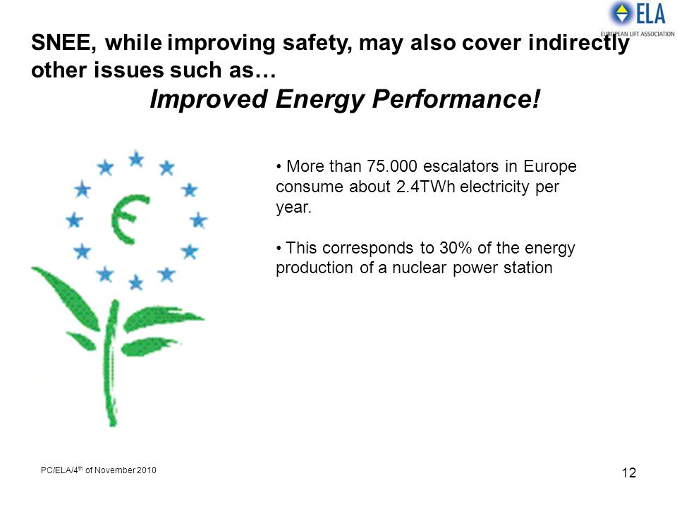 PC/ELA/4 th of November 2010 12 SNEE, while improving safety, may also cover indirectly other issues such as… Improved Energy Performance! More than 7