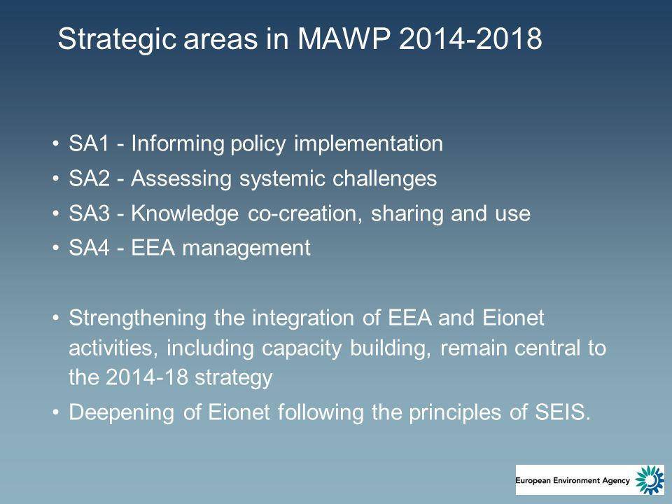Strategic areas in MAWP 2014-2018 SA1 - Informing policy implementation SA2 - Assessing systemic challenges SA3 - Knowledge co-creation, sharing and use SA4 - EEA management Strengthening the integration of EEA and Eionet activities, including capacity building, remain central to the 2014-18 strategy Deepening of Eionet following the principles of SEIS.