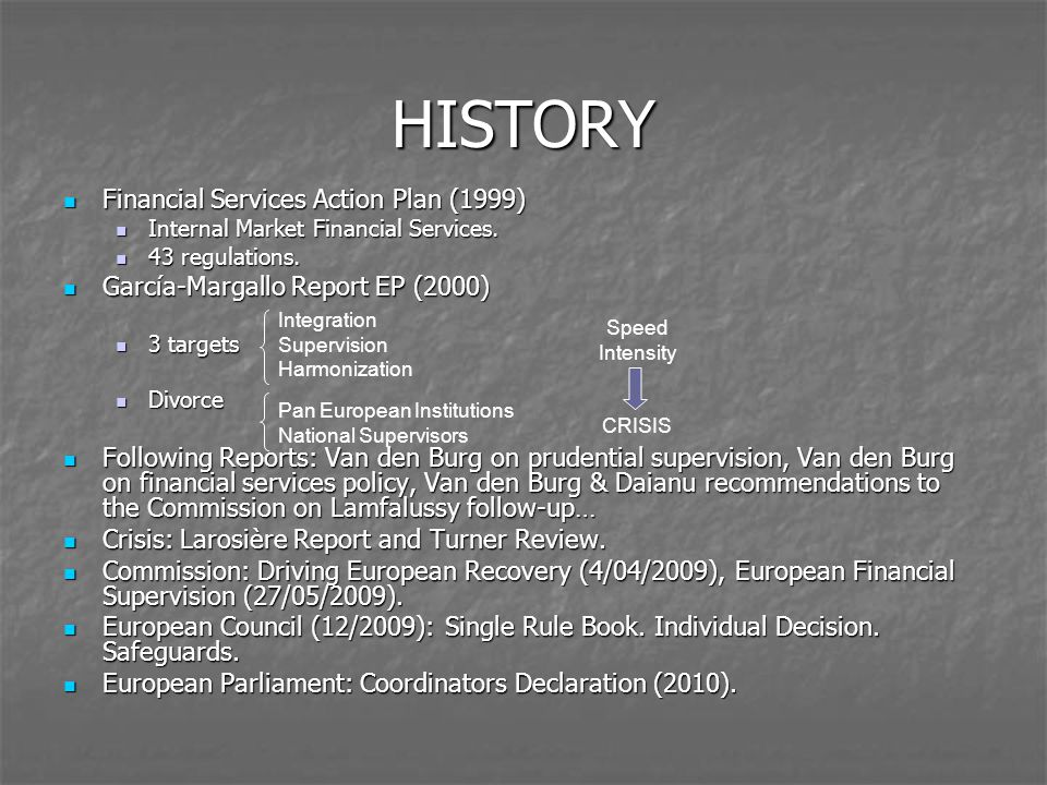 HISTORY Financial Services Action Plan (1999) Financial Services Action Plan (1999) Internal Market Financial Services.