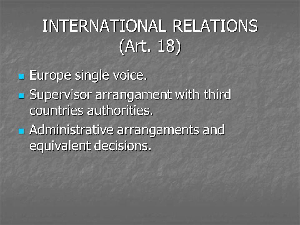 INTERNATIONAL RELATIONS (Art. 18) Europe single voice. Europe single voice. Supervisor arrangament with third countries authorities. Supervisor arrang
