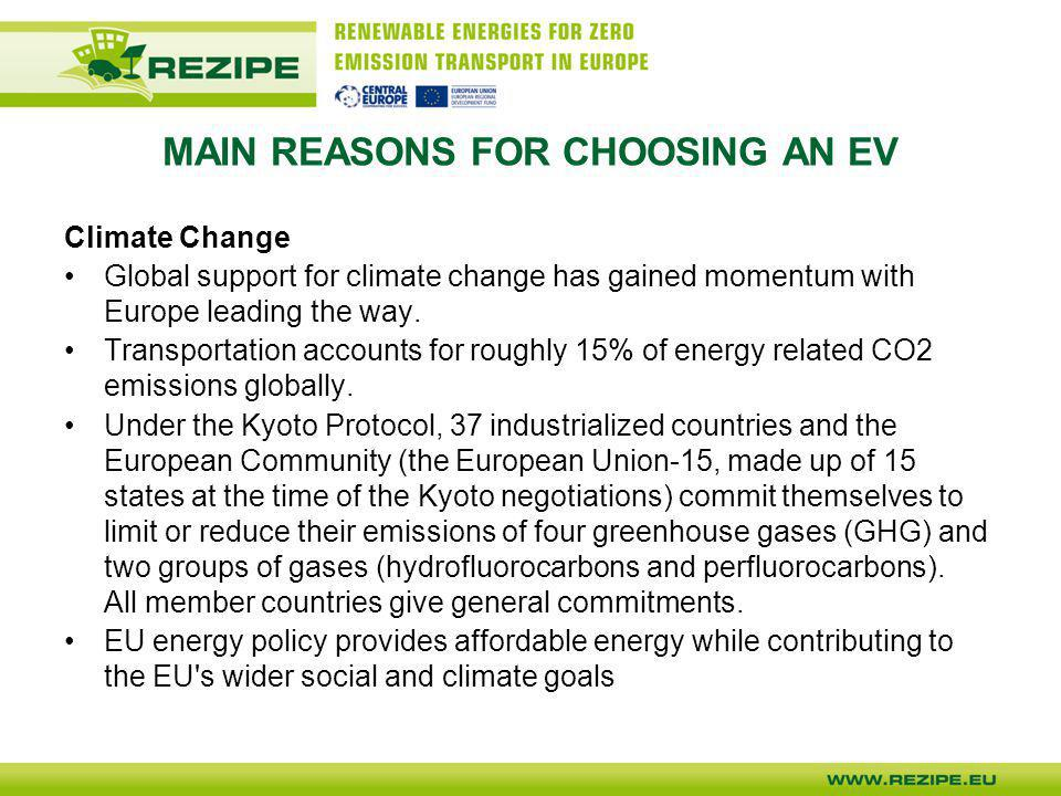 MAIN REASONS FOR CHOOSING AN EV Climate Change Global support for climate change has gained momentum with Europe leading the way. Transportation accou