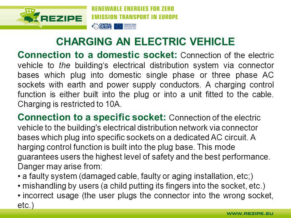 CHARGING AN ELECTRIC VEHICLE Connection to a domestic socket: Connection of the electric vehicle to the building's electrical distribution system via