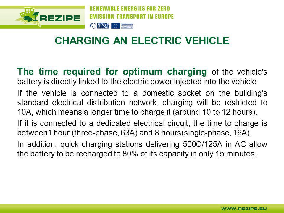 CHARGING AN ELECTRIC VEHICLE For normal charging (3 kW), car manufacturers have built a battery charger into the car.