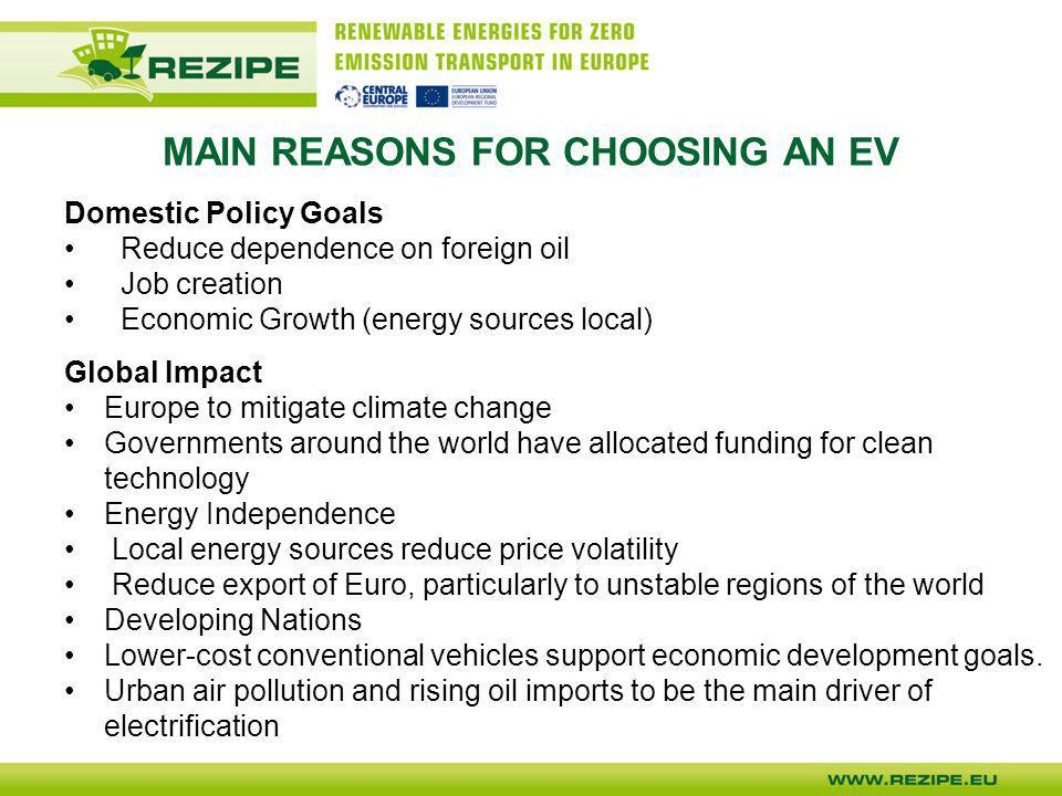 MAIN REASONS FOR CHOOSING AN EV Domestic Policy Goals Reduce dependence on foreign oil Job creation Economic Growth (energy sources local) Global Impa