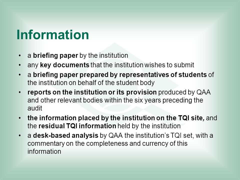 Information a briefing paper by the institution any key documents that the institution wishes to submit a briefing paper prepared by representatives o