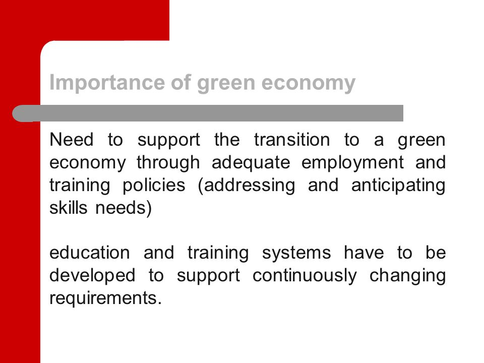 Key findings Planning of training courses and their linkage with the anticipation of skills needed in green professions.