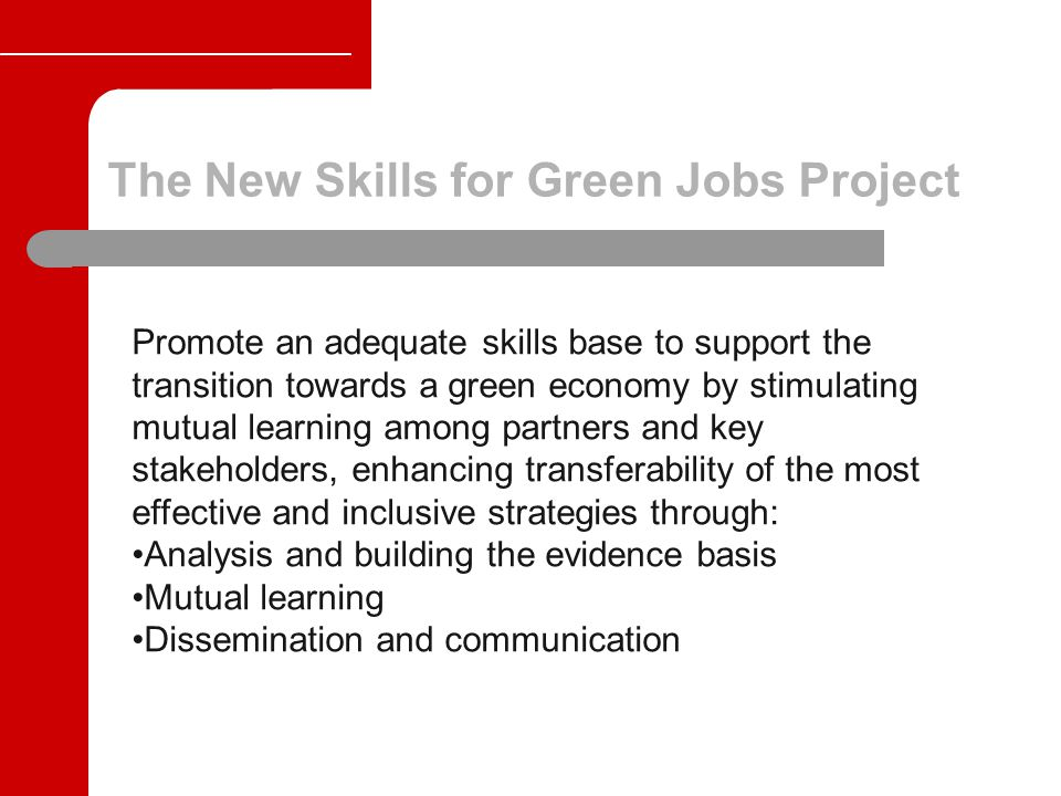 The New Skills for Green Jobs Project Promote an adequate skills base to support the transition towards a green economy by stimulating mutual learning among partners and key stakeholders, enhancing transferability of the most effective and inclusive strategies through: Analysis and building the evidence basis Mutual learning Dissemination and communication