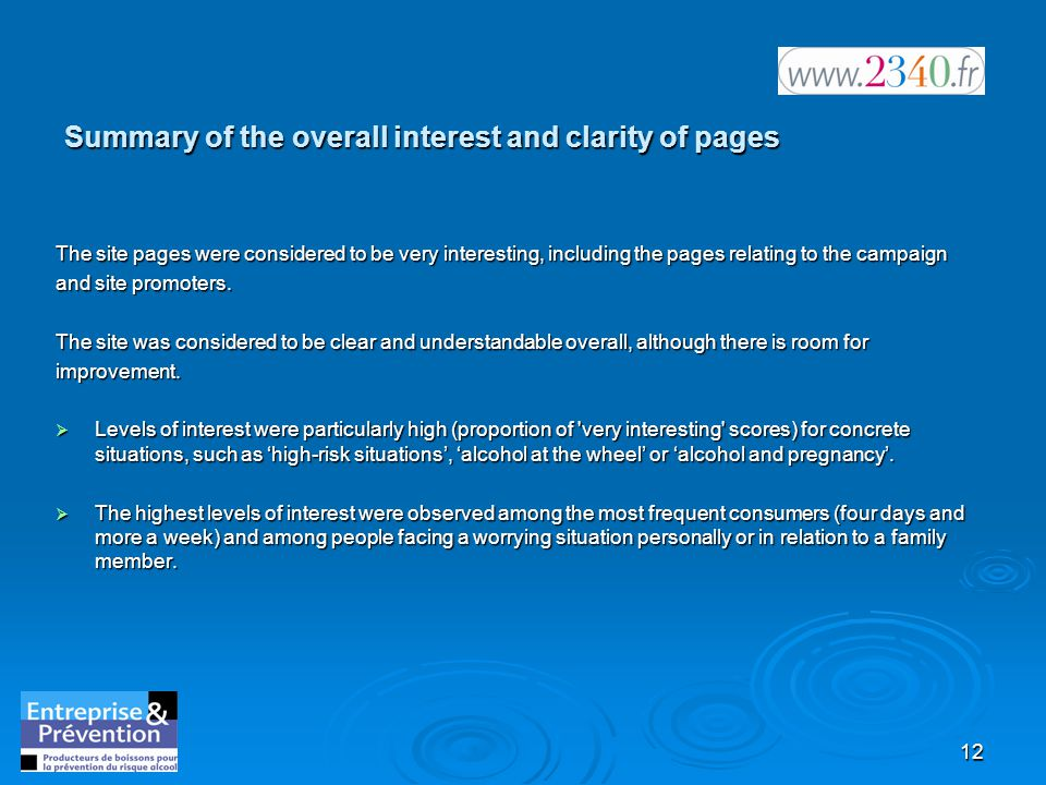 12 Summary of the overall interest and clarity of pages The site pages were considered to be very interesting, including the pages relating to the campaign and site promoters.
