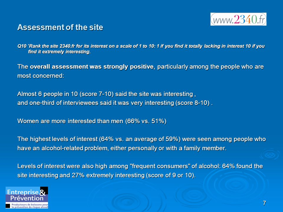 7 Assessment of the site Q10 'Rank the site 2340.fr for its interest on a scale of 1 to 10: 1 if you find it totally lacking in interest 10 if you find it extremely interesting.