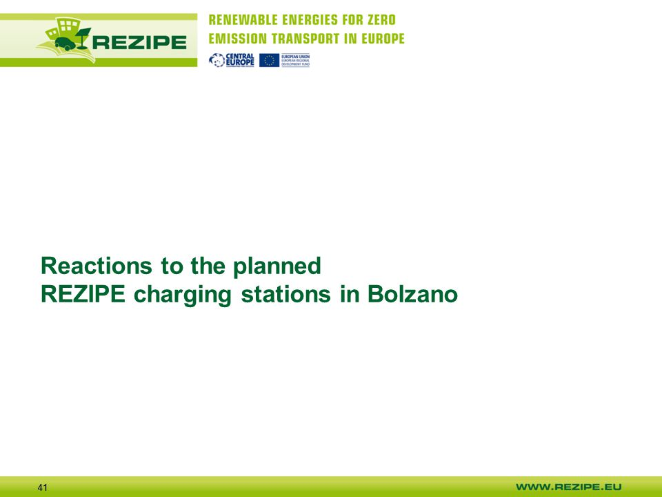 41 Reactions to the planned REZIPE charging stations in Bolzano