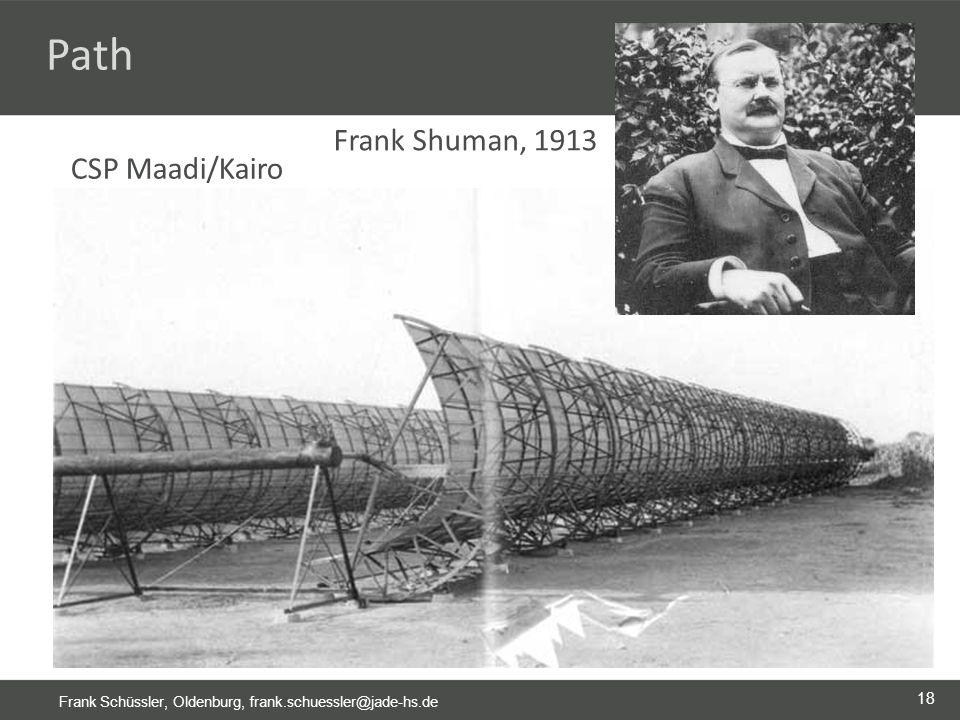 18 Frank Schüssler, Oldenburg, frank.schuessler@jade-hs.de Path Frank Shuman, 1913 CSP Maadi/Kairo