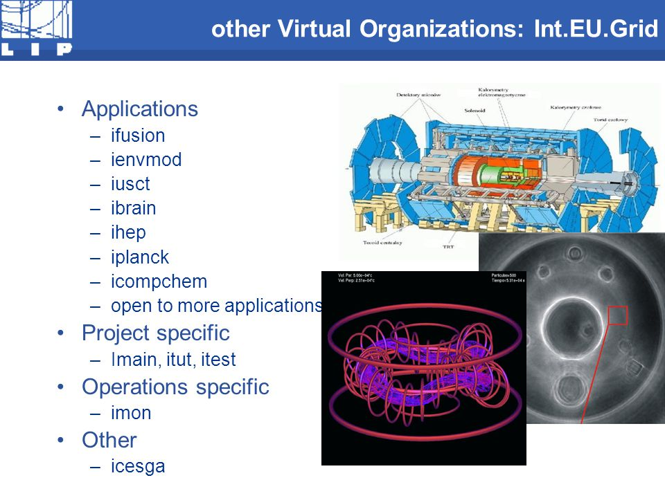other Virtual Organizations: Int.EU.Grid Applications –ifusion –ienvmod –iusct –ibrain –ihep –iplanck –icompchem –open to more applications ! Project