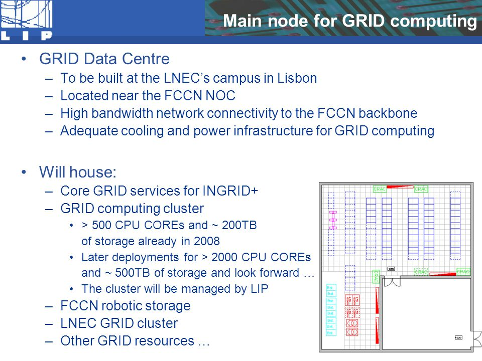 Main node for GRID computing GRID Data Centre –To be built at the LNEC's campus in Lisbon –Located near the FCCN NOC –High bandwidth network connectivity to the FCCN backbone –Adequate cooling and power infrastructure for GRID computing Will house: –Core GRID services for INGRID+ –GRID computing cluster > 500 CPU COREs and ~ 200TB of storage already in 2008 Later deployments for > 2000 CPU COREs and ~ 500TB of storage and look forward … The cluster will be managed by LIP –FCCN robotic storage –LNEC GRID cluster –Other GRID resources …
