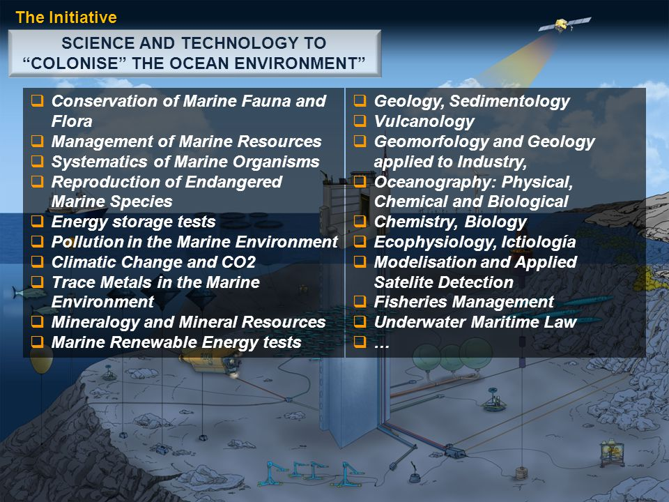 SCIENCE AND TECHNOLOGY TO COLONISE THE OCEAN ENVIRONMENT The Initiative  Conservation of Marine Fauna and Flora  Management of Marine Resources  Systematics of Marine Organisms  Reproduction of Endangered Marine Species  Energy storage tests  Pollution in the Marine Environment  Climatic Change and CO2  Trace Metals in the Marine Environment  Mineralogy and Mineral Resources  Marine Renewable Energy tests  Geology, Sedimentology  Vulcanology  Geomorfology and Geology applied to Industry,  Oceanography: Physical, Chemical and Biological  Chemistry, Biology  Ecophysiology, Ictiología  Modelisation and Applied Satelite Detection  Fisheries Management  Underwater Maritime Law  …