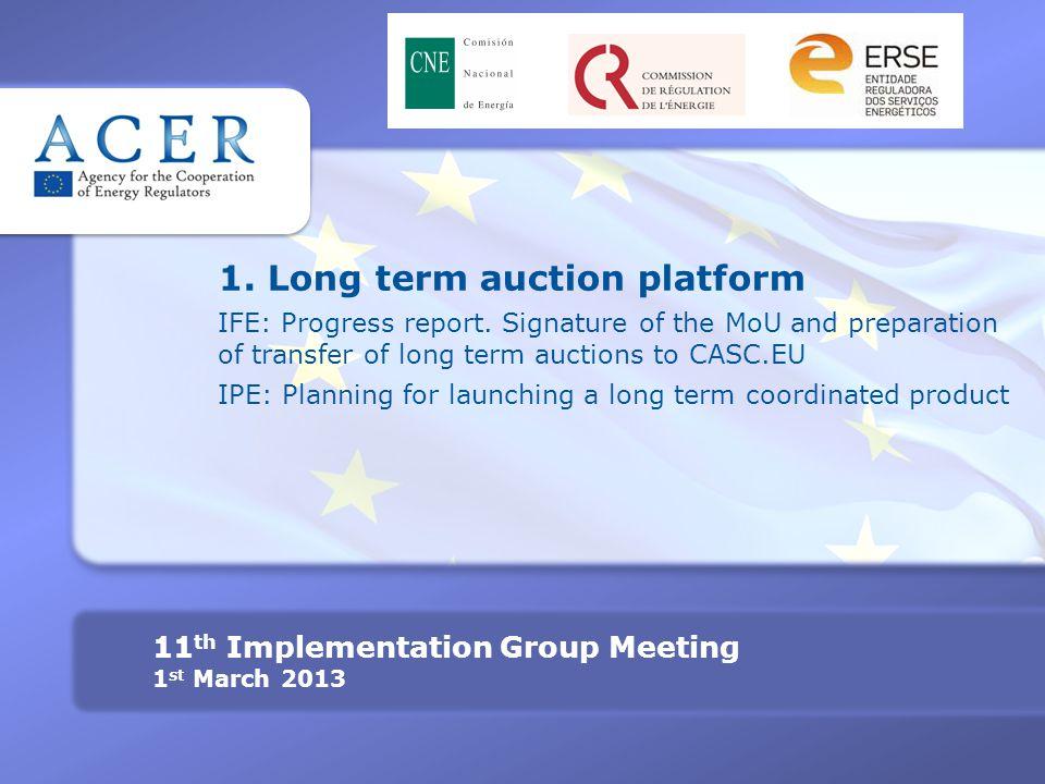 1. Long term auction platform IFE: Progress report.