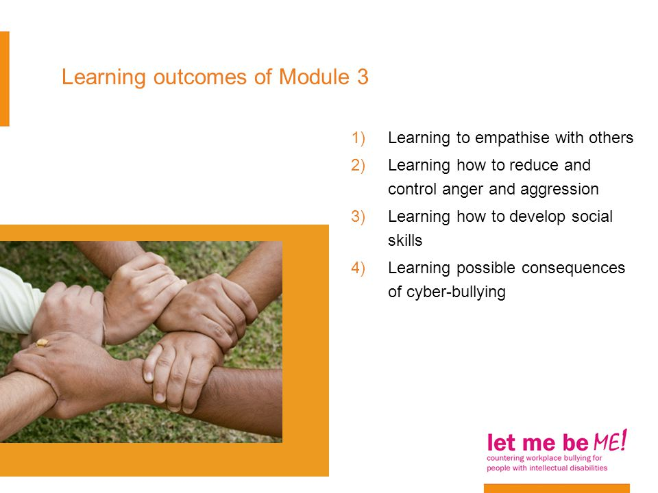 1)Learning to empathise with others 2)Learning how to reduce and control anger and aggression 3)Learning how to develop social skills 4)Learning possible consequences of cyber-bullying Learning outcomes of Module 3