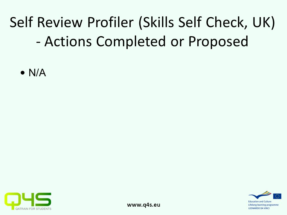 www.q4s.eu Self Review Profiler (Skills Self Check, UK) - Actions Completed or Proposed N/A