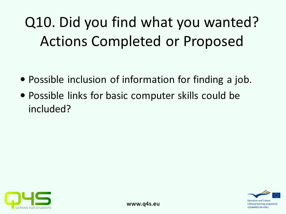 www.q4s.eu Q10. Did you find what you wanted? Actions Completed or Proposed Possible inclusion of information for finding a job. Possible links for ba