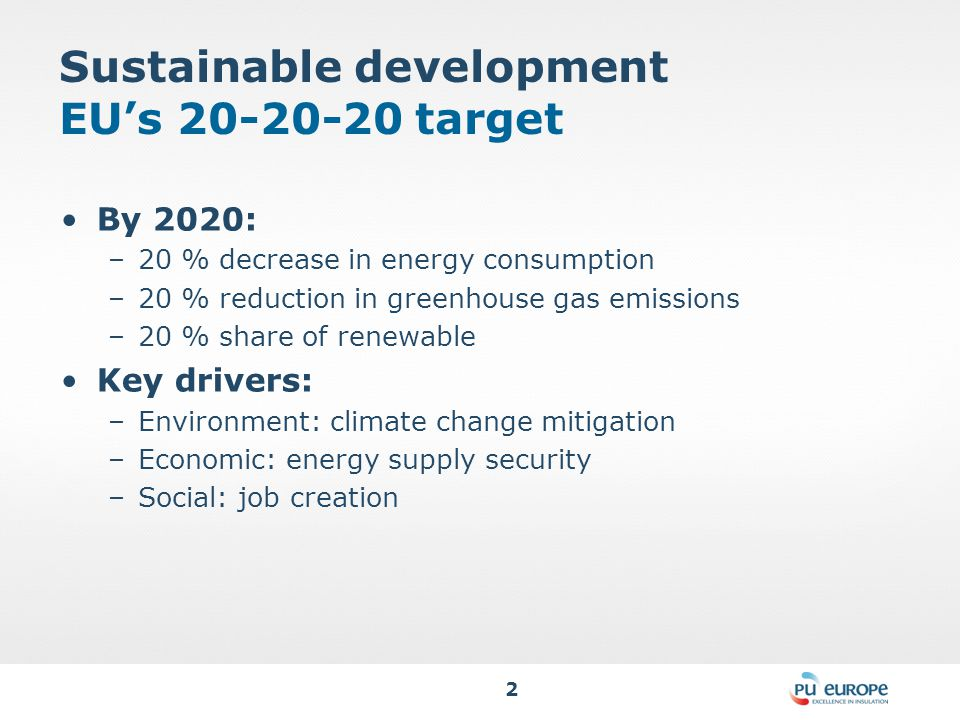 2 Sustainable development EU's 20-20-20 target By 2020: –20 % decrease in energy consumption –20 % reduction in greenhouse gas emissions –20 % share of renewable Key drivers: –Environment: climate change mitigation –Economic: energy supply security –Social: job creation